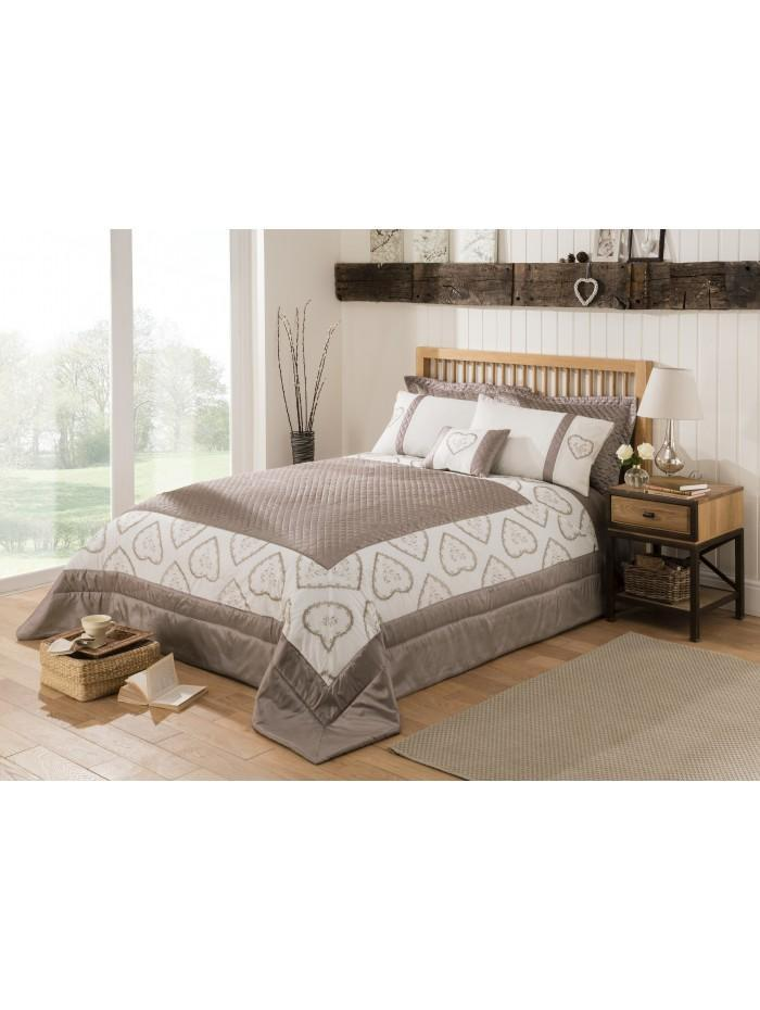 Heart Embroidered Panel Embellished Bedspread Natural