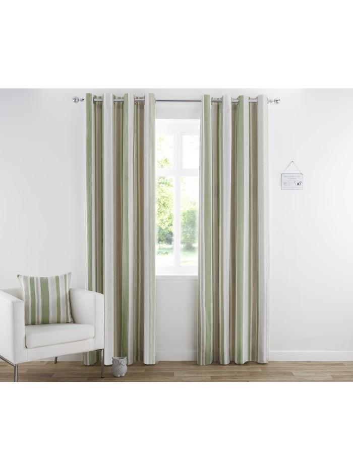 Henley Eyelet Curtains Green