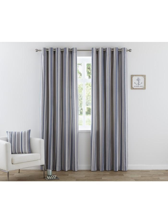 Henley Eyelet Print Curtains Blue