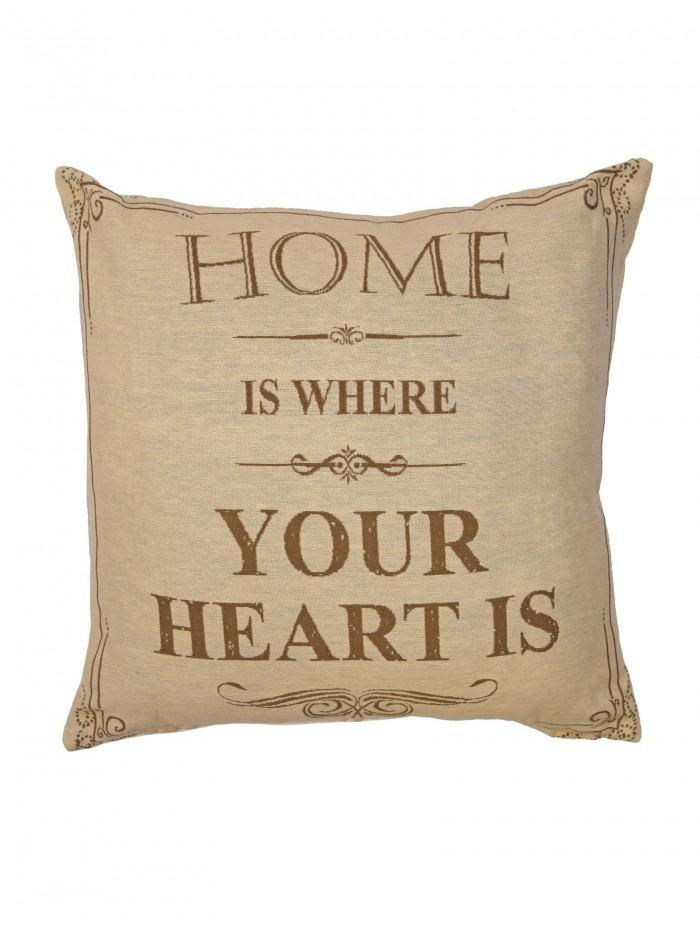 Home Is Where Your Heart Is Cushion Natural