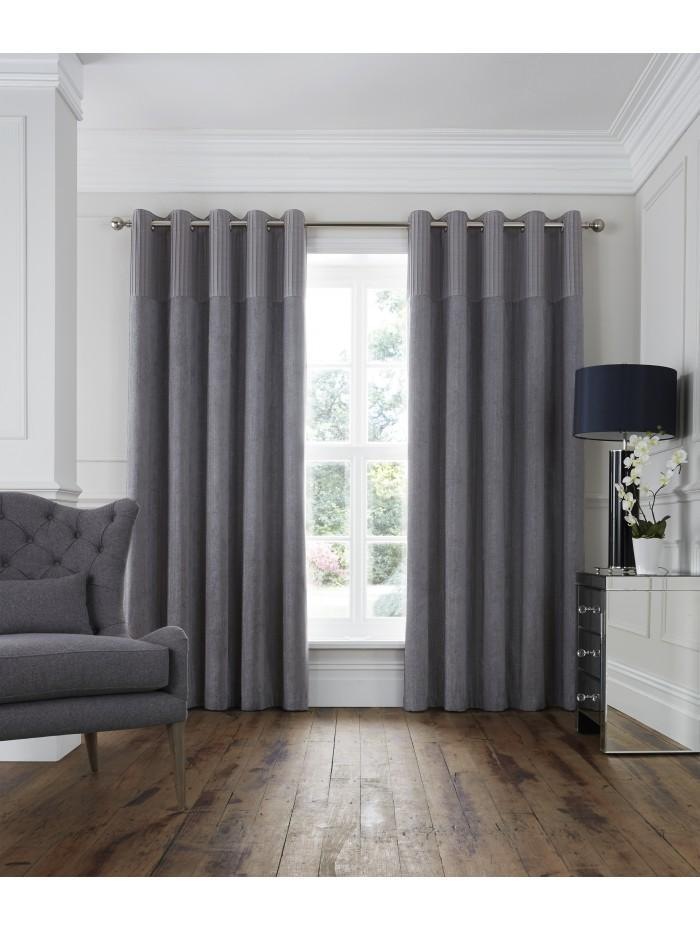 Hotel Collection Monaco Eyelet Curtains Silver