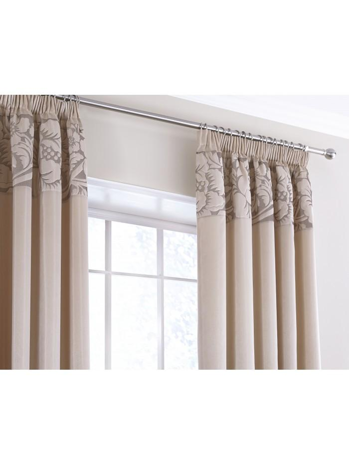 Juliette Quilted Panel Fully Lined Curtains Natural
