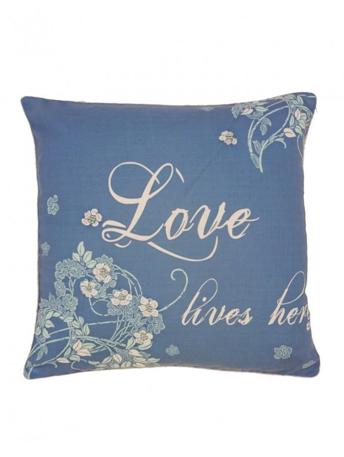 Love Lives Here Cushion Blue