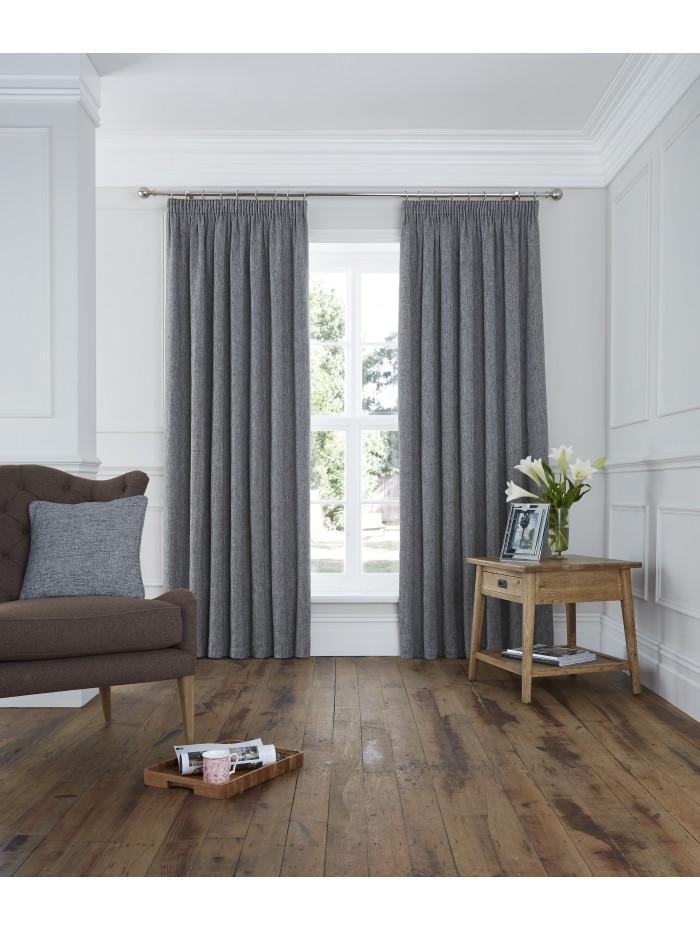 Lucerne Pencil Pleat Curtains Grey