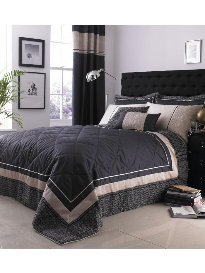 Luxury Geo Bedspread  Black