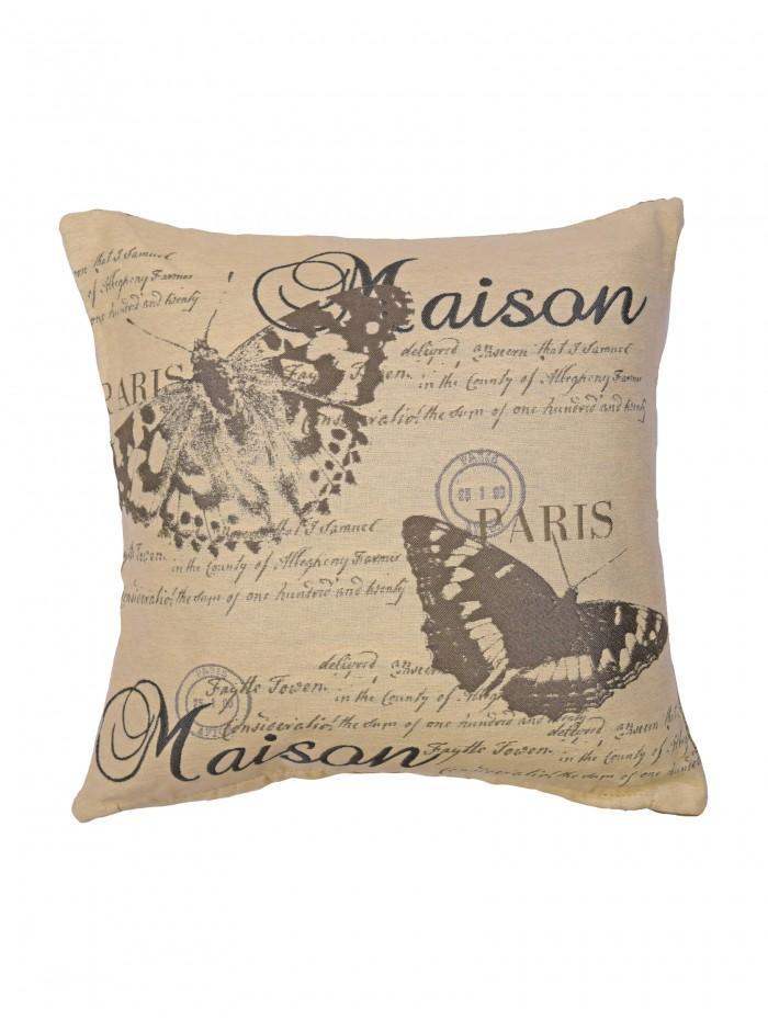 Maison Butterfly Tapestry Cushion Grey