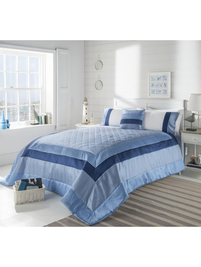 Manhattan Quilted Panel Bedspread Blue