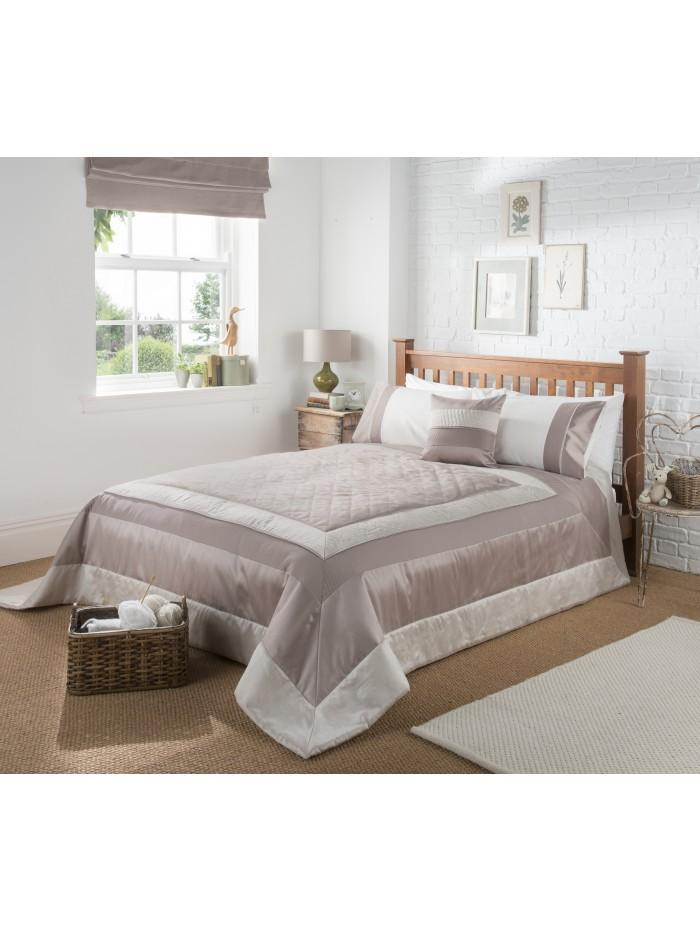 Manhattan Quilted Panel Bedspread Taupe