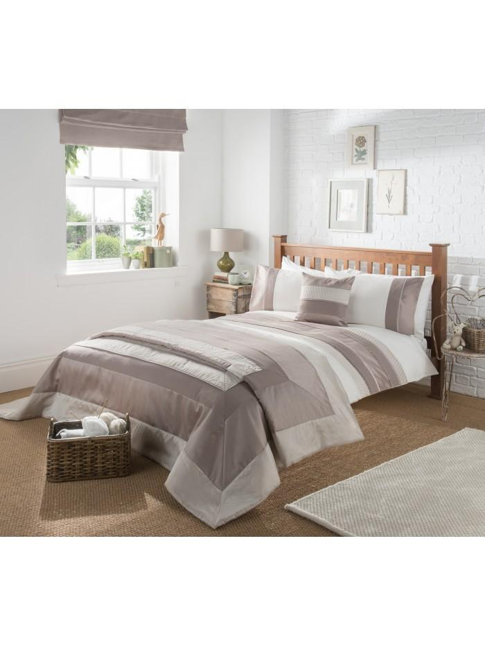 Manhattan Quilted Panel Duvet Set Taupe