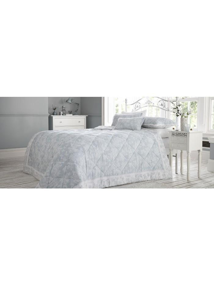 Mia Lace Trim Bedspread Duck Egg
