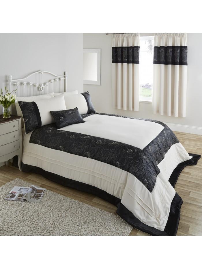 Midnight Poppy Bedspread Natural