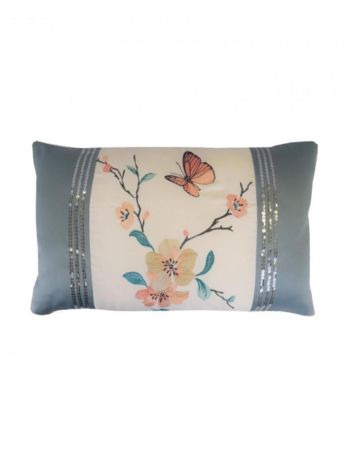 Butterfly Blossom Cushion Duck Egg