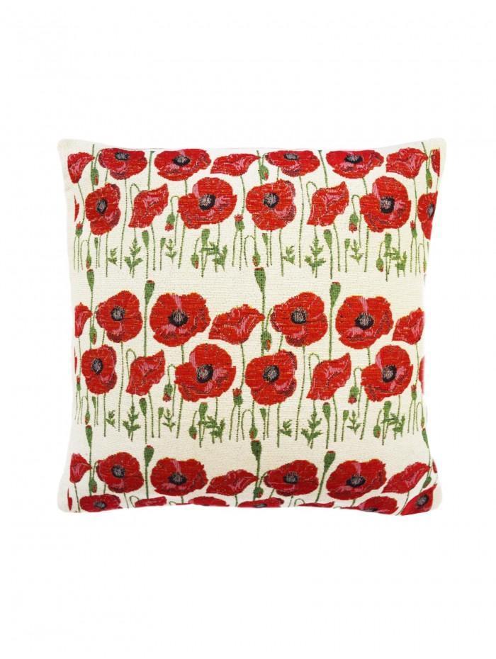 Multi Poppy Cushion Red