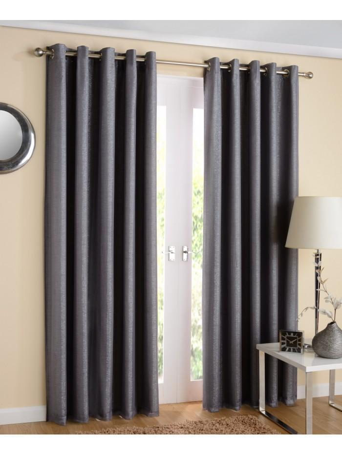 New York Eyelet Lined Voile Curtains Grey