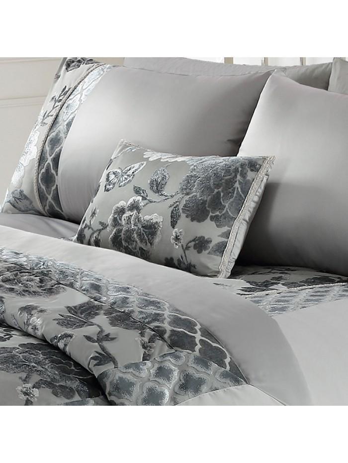 Oriental Velvet Jacquard Cushion Grey