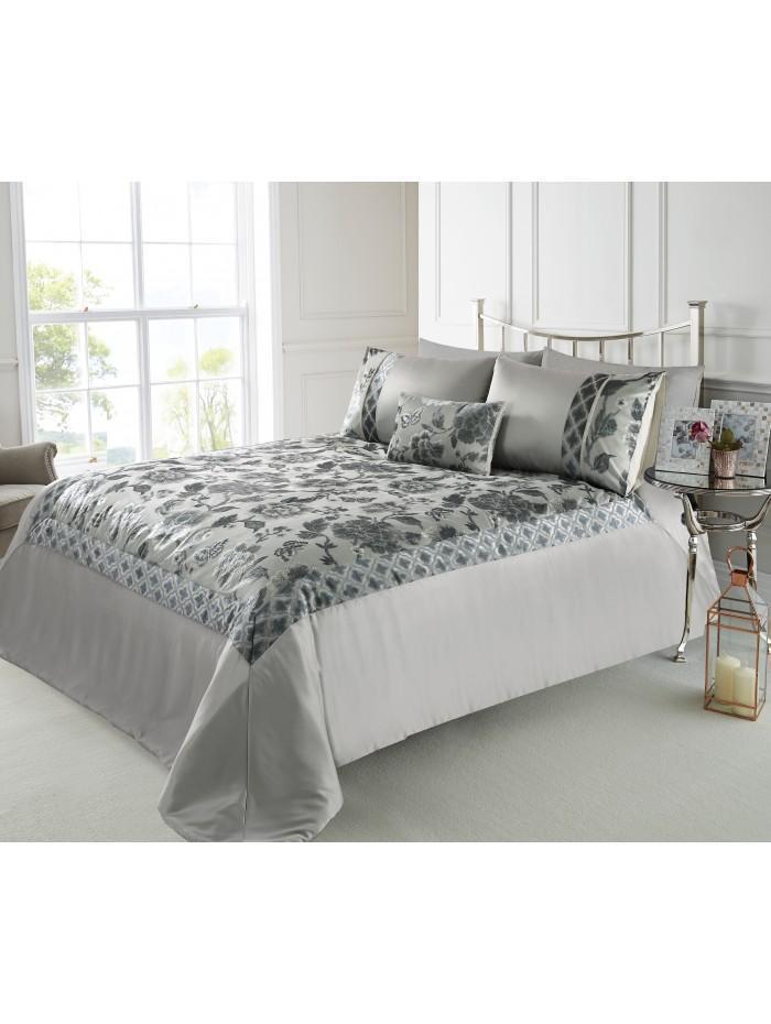 Oriental Velvet Jacquard Bedspread Grey