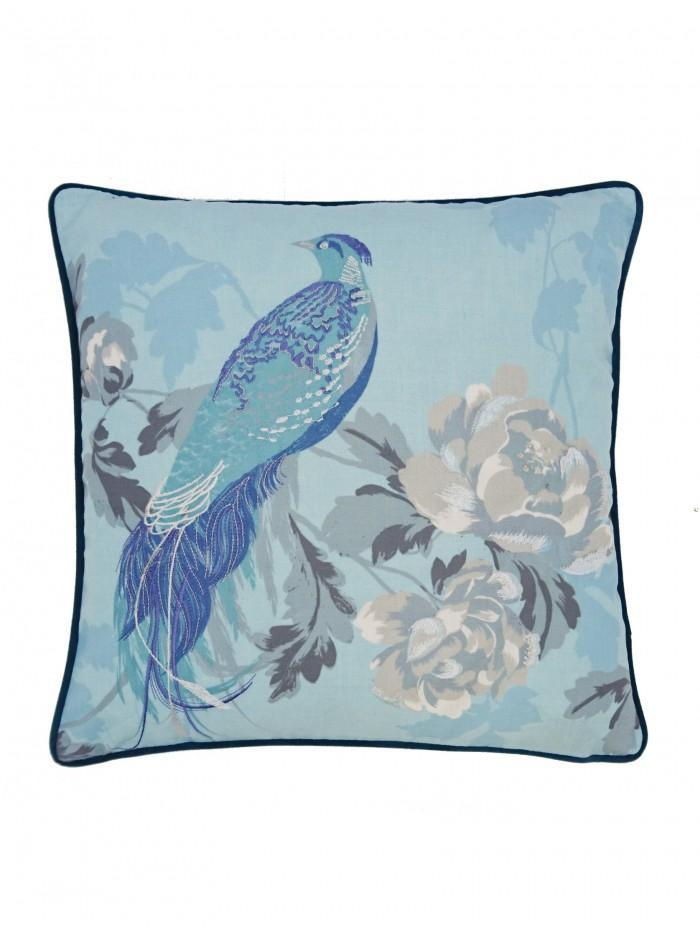 Oriental Bird Cushion Blue
