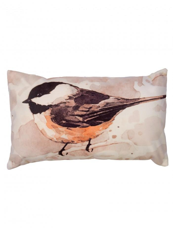 Painted Bird Cushion Natural