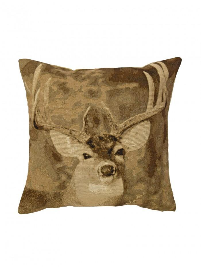 Photographic Stag Cushion Natural