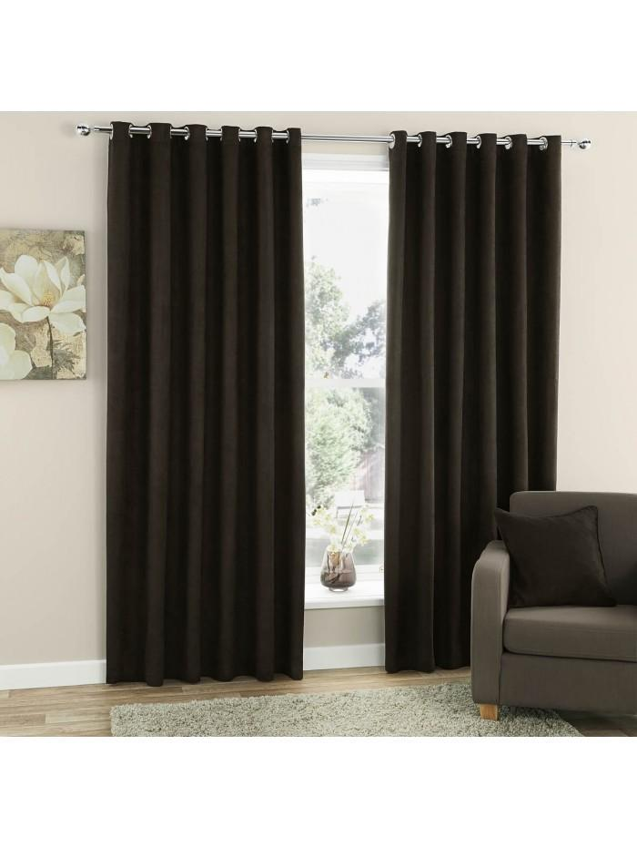 Curtina Plain Suede Eyelet Curtains Chocolate
