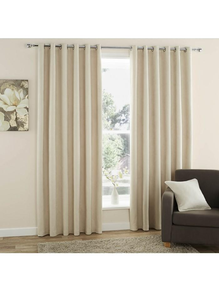 Curtina Plain Suede Eyelet Curtains Cream