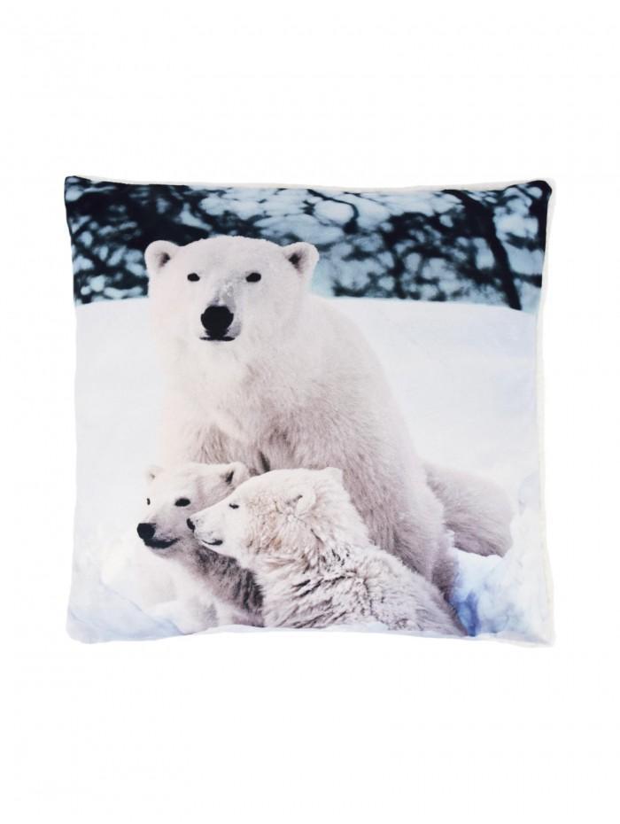 Polar Bear Cushion With Sherpa White