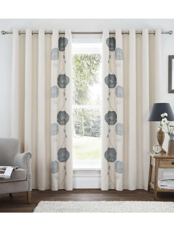 Poppy Bloom Eyelet Curtains