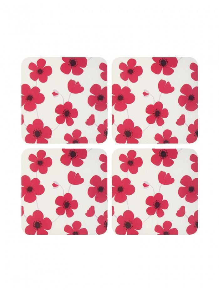 Ponden Home Pack Of 4 Bright Poppy Design Cork Back Coasters Red