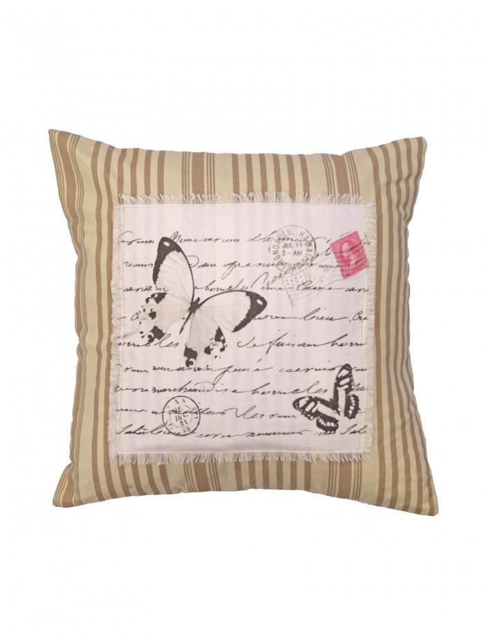 Postcard Butterfly Cushion Natural
