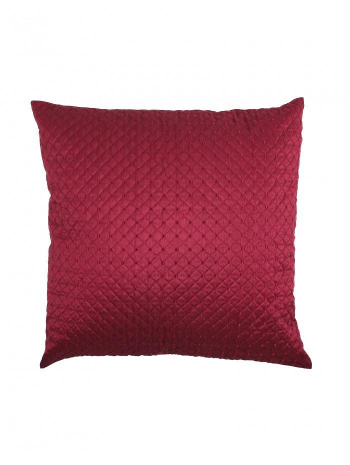 Quilted Cuff Embellished Cushion Red