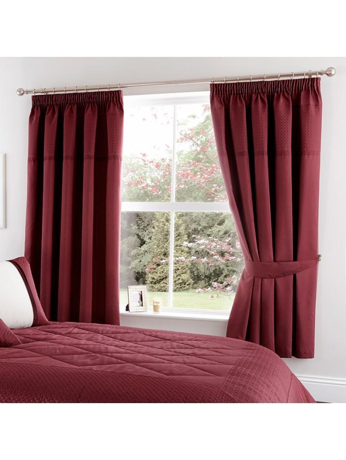 Quilted Cuff Embellished Curtain Red