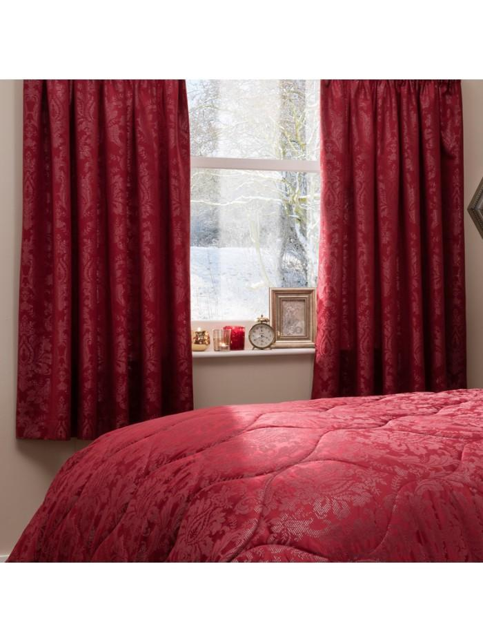 Regal Rouge Jacquard Curtain Red