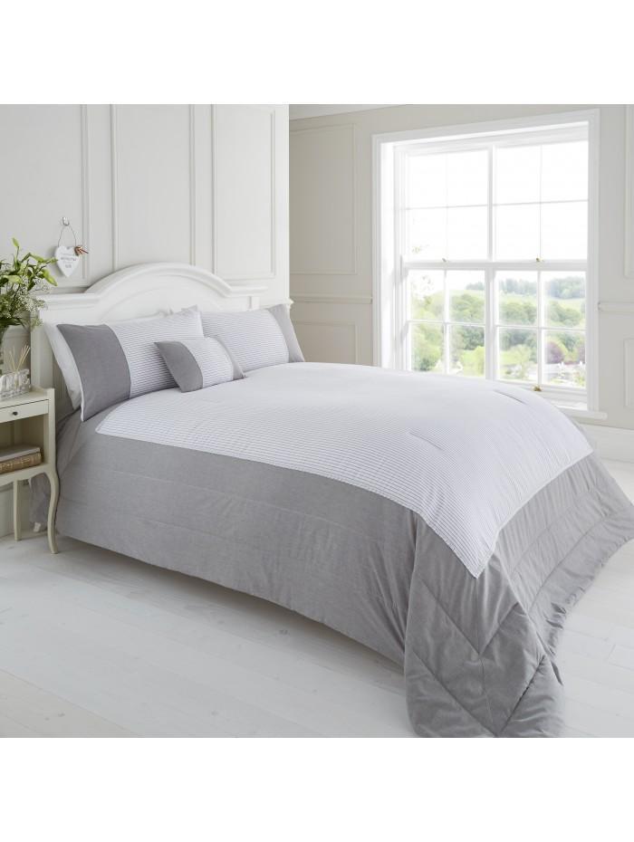 Seersucker & Chambray Lace Trim Bedspread Grey