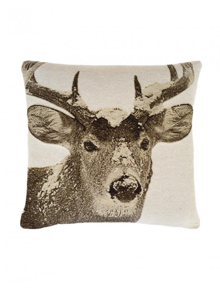 Winter Stag Cushion Natural