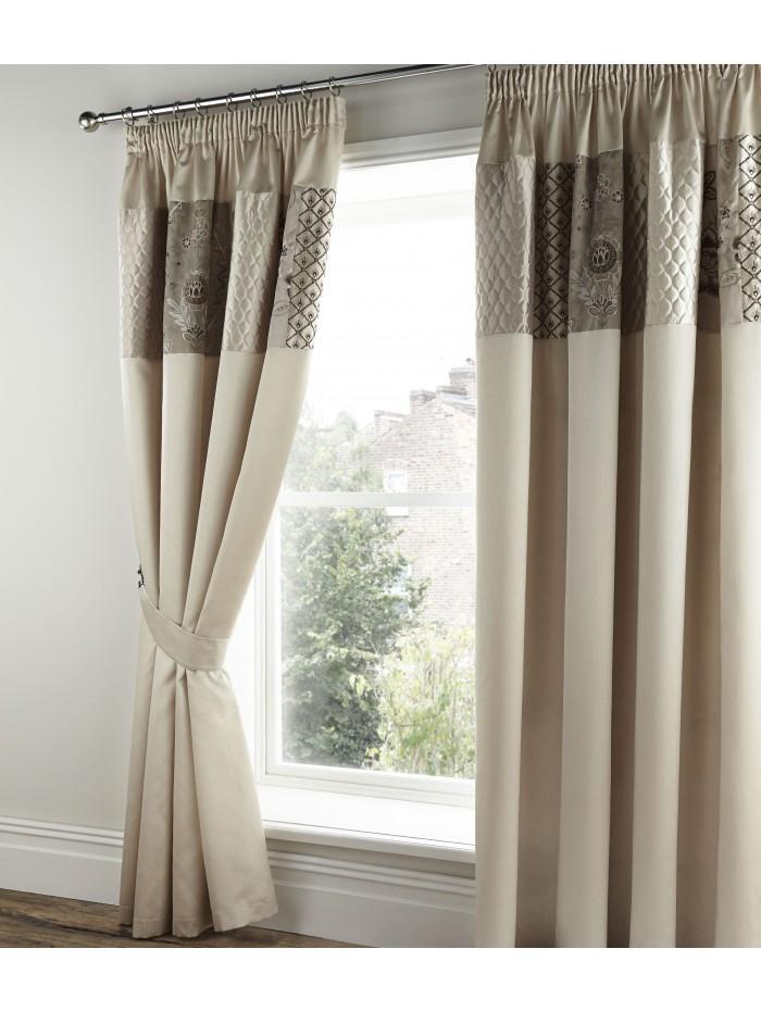 Sorilla Patchwork Panel Fully Lined Curtains Natural