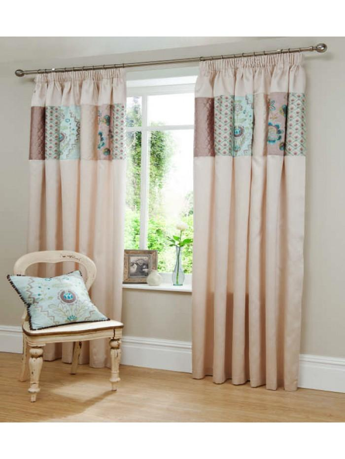 Sorilla Patchwork Panel Fully Lined Curtains Duckegg