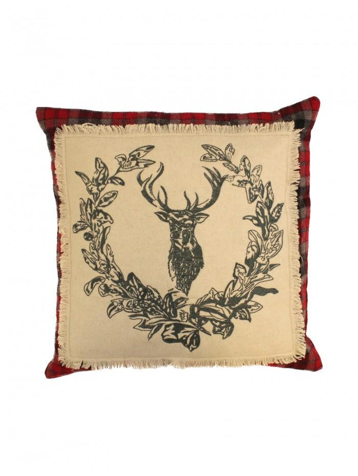 Embroidered Stag Cushion Red