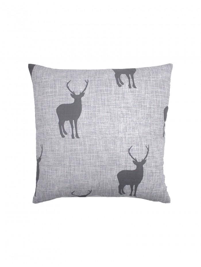 Stag Eyelet Cushion Grey