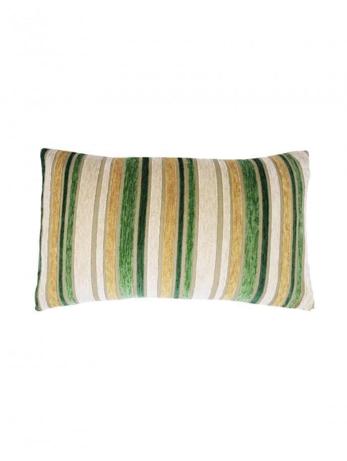 Stripe Chenille Cushion Green