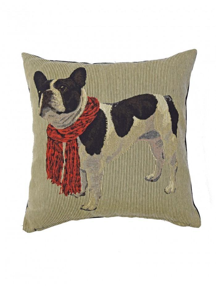 Bull Dog Tapestry Cushion Red