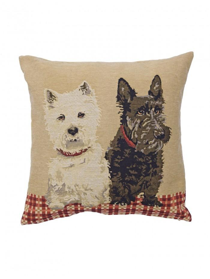 Tapestry Westie Dogs Cushion Natural