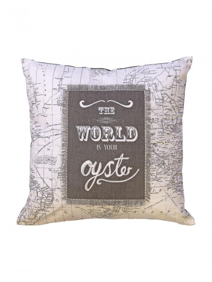 The World Is Your Oyster Cushion Natural