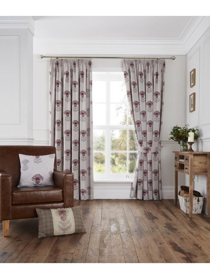 Thistle Pencil Pleat Curtains Red