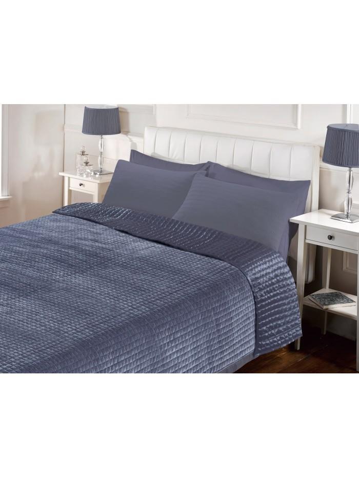 Hotel Velvet Bedspread Light Grey