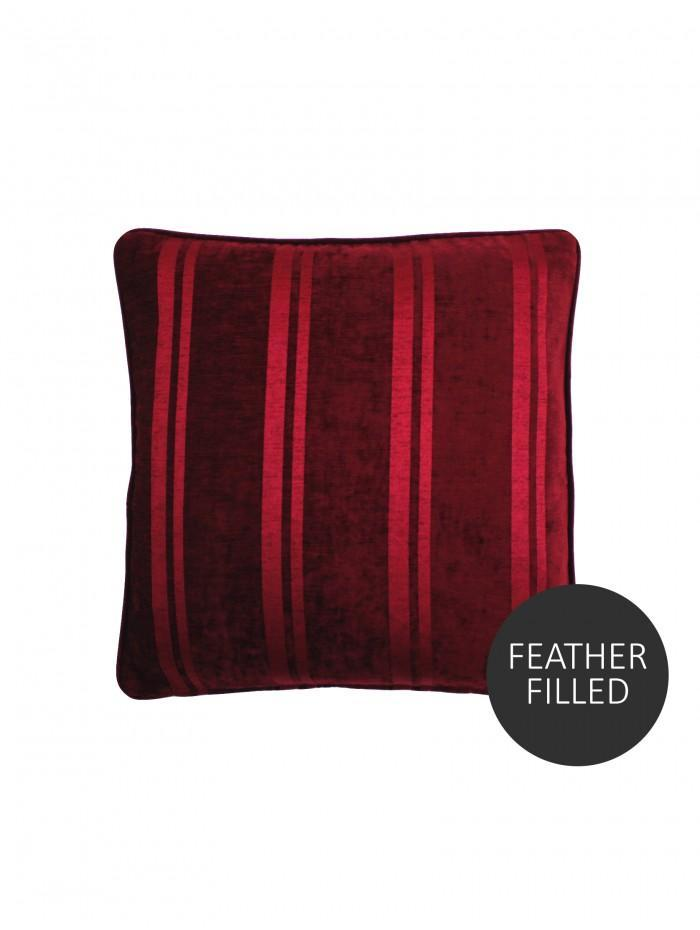 Large Hotel Velvet Stripe Cushion Red