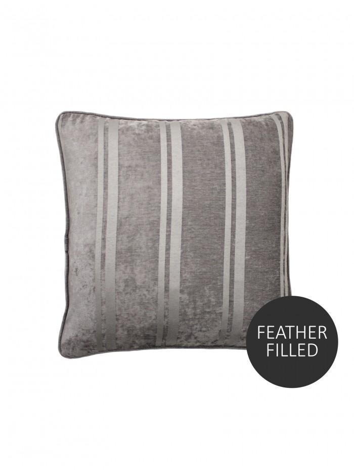 Large Hotel Velvet Stripe Cushion Silver