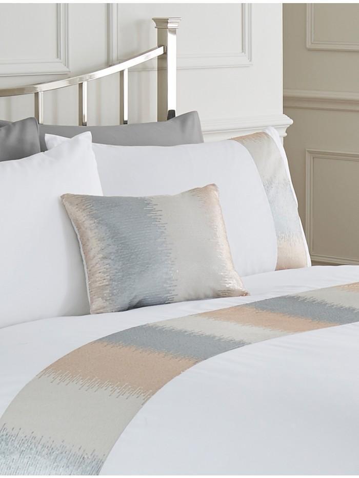 Victoria Sequin Panel Cushion White