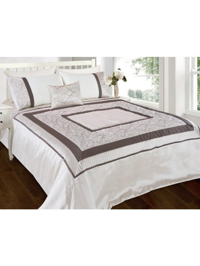 Zetta Scroll Quilted Bedspread Cream