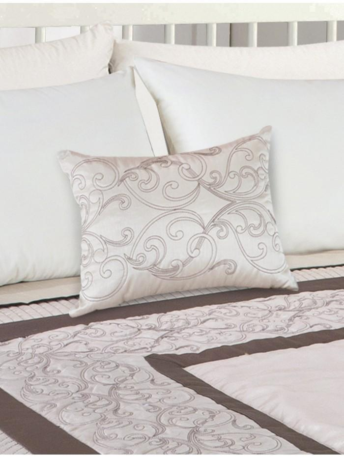 Zetta Scroll Quilted Panel Cushion Cream