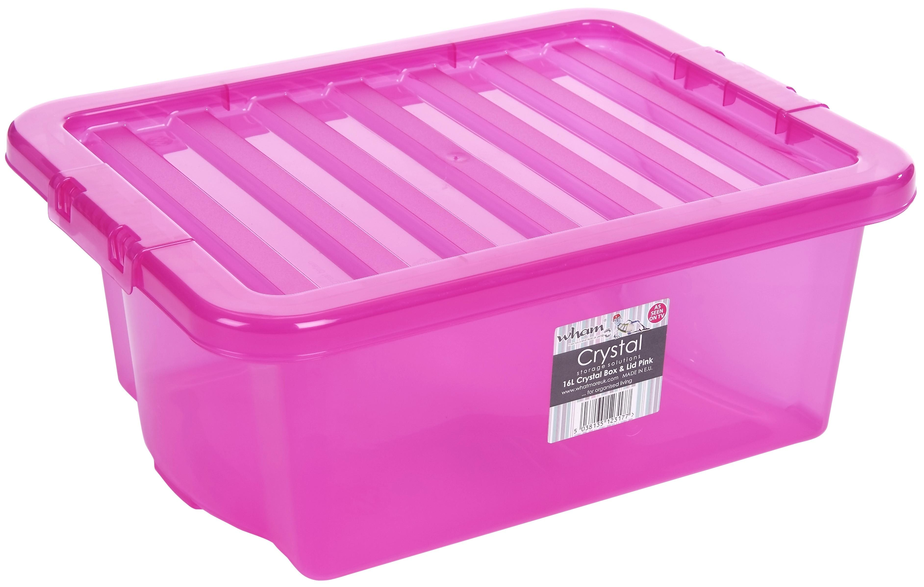 16L Wham Crystal Stacking Plastic Storage Box Pink Clip Lid